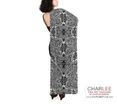 Charlee Time Lapse Long Silk Scarf in BW