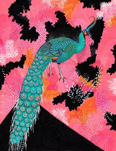 Loving this peacock illustration! Drawings, Drawing Illustrations, Creative Inspiration Art, Painting, Creative Inspiration, Illustration Art, Art, Artsy, Bird Art