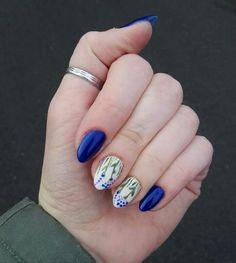 March 2018. #nails #longnails #bluenails #nailinspo #naturalnails #nailart #flowernails #springnails