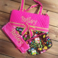 Owl 3 Piece Quilted Diaper bag set
