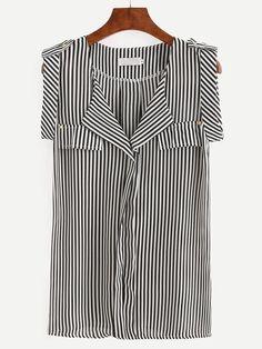 9cb51409fef Shop Black White Vertical Striped Sleeveless Blouse online. SheIn offers  Black… Блузка Без Рукавов