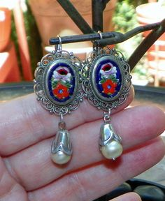 Micro Mosaic Electric Cobalt Blue Red Earrings by WillowBloom