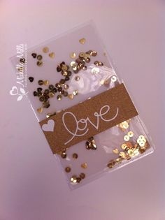 Vellum Shaker card in gold for Valentines Day. Using some Stampin Up and We Are Memory Keepers products.