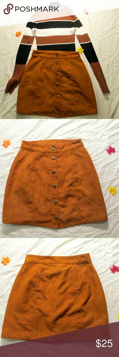 Faux Suede Skirt Faux Suede Skirt has 6 metal snaps in the front. No damage, really great condition. Looks really cute with turtlenecks in the Fall. It's an orangy-brown color. arizona Skirts Mini