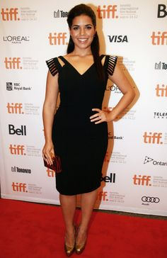 America Ferrera in little black dress ... love the shoulder details