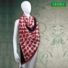 Multi colored woven cotton #digital #printed #stole, has fringes on both the ends