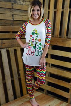 Merry Christmas! Shop this Joy to the World Set for Christmas morning! Available in S-XL.