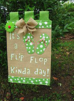 Flip Flop Garden Flag* Burlap Garden Flag* Summer Garden Flag