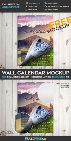 Free Wall Calendar PSD Mockup | Free PSD Templates | #free #photoshop #mockup #psd #wall #calendar