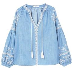 Embroidered Denim Blouse (925 EGP) ❤ liked on Polyvore featuring tops, blouses, embroidery blouses, mango blouse, denim top, puffed sleeve blouse and blue top