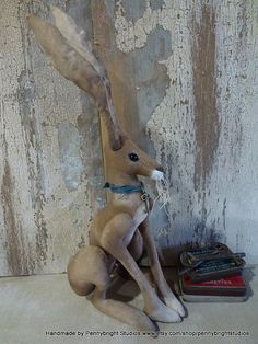 Eyebright Hare: vintage style, soft sculpture (hare, rabbit, bunny) by Pennybright Studios