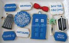 Sweet Creations by Debbie: Doctor Who Cookies Galletas Cookies, Fun Cookies, Cake Cookies, Sugar Cookies, Cookies Et Biscuits, Iced Cookies, Cupcakes, Doctor Who Cakes, Doctor Who Party