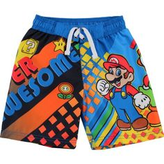 c9c29ca718 Beach Pants, Little Boy Fashion, Buy Nintendo, Boy Blue, Super Mario Bros, Swim  Shorts, Short Girls, Kids Wear, Babies Clothes