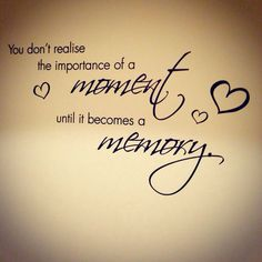 You don't realise the importance of a moment until it becomes a memory. Custom wall sticker quote from www.wallchimp.co.uk