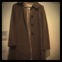 Timeless brown/gray wool coat. Classic! Beautiful coat but I have no need for it in California! 4 buttons, hits mid thigh. 90% wool 10% nylon. Silky pin stripe lining Banana Republic Jackets & Coats