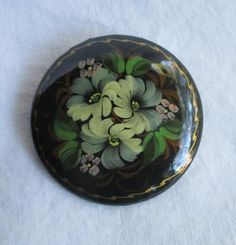 Handpainted Round Brooch Vintage Black with Flowers by HobbitHouse