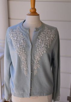 Vintage Beaded Sweater Duck Egg Blue and Pearls by Violasvintages, $50.00