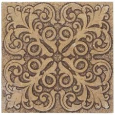 Decorative Travertine Tile Symmetrical Scroll From Andersen Ceramics  Kitchen Back Splash