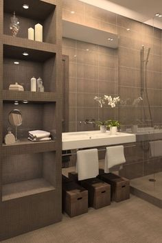 If you have a small bathroom in your home, don't be confuse to change to make it look larger. Not only small bathroom, but also the largest bathrooms have their problems and design flaws. Bathroom Renos, Basement Bathroom, Bathroom Interior, Modern Bathroom, Bathroom Renovations, Remodel Bathroom, Attic Bathroom, Compact Bathroom, Relaxing Bathroom