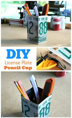 Upcycle an old license plate into a cool desk organization piece! This license plate pencil cup is easy to make. Click to find out how!