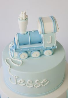 sweet tiers - christening - christening cake - train cake