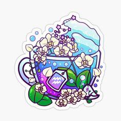 Cute Food Drawings, Cute Kawaii Drawings, Kawaii Art, Anime Stickers, Kawaii Stickers, Cute Stickers, Zodiac Art, Aquarius Zodiac, Cute Food Art