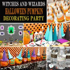 Witches and Wizards Halloween Pumpkin Decorating Party - Crafts by Courtney Halloween Projects, Diy Halloween Costumes, Spooky Halloween, Halloween Pumpkins, Halloween Party, Craft Party, Diy Party, Party Ideas, Pumpkin Decorating
