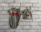 Motorcycle onesie and hat gift set dyed olive drab or custom colors
