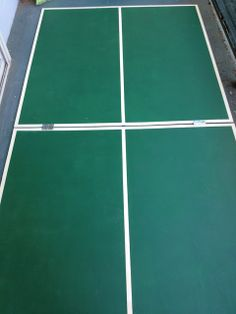 """DIY Folding 4x8 Ping Pong Table. Would attach to dining table (perhaps even store under dining table?) Perhaps make navy or black instead of green with """"white"""" lines being the natural wood?"""