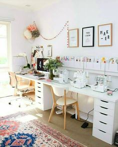 """Ivo Putria Listanova 🌸 on Instagram: """"Super cozy🌿 . . . . . . . #sewing #sewingproject #cozy #cozyhome #homesweethome #homedecor #homesewing"""" Sewing Room Design, Sewing Spaces, Sewing Rooms, Home Office, Office Decor, My Workspace, Home Crafts, Diy Crafts, Home Improvement"""