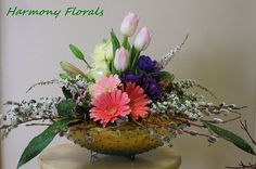 Spring bowl :: tulips, anemones, roses, gerberas, pussywillow, lilies