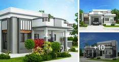 This four bedroom modern house design with roof deck has a total floor area of 177 square meters not including the roof deck. This design can fit in a lot with a total lot area of 300 square meters having at least meters lot frontage. Architect Design House, House Roof Design, Flat Roof House, Bungalow House Design, Modern House Design, Tiny House, One Storey House, 2 Storey House Design, Modern House Floor Plans