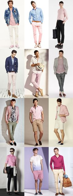 5 Underused Menswear Colours: 1. Pink (paired with Brown, beige and white, along with darker shades of green and blue) Lookbook Inspiration