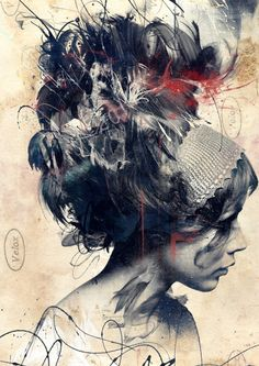 Artist Russ Mills created digital art pieces by constructing portraits digitally mastered to combine components of several different drawings and paintings. These complex and interesting creations portray the essence of human nature and emotion in a style that combines techniques of traditional fine art with hints of urban flare and chaos
