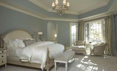 French Country Blue Paint Colors | Master Bedroom: Soft blue walls ...