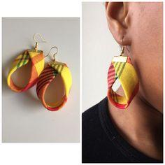 Boucle d'oreille tissu madras orange