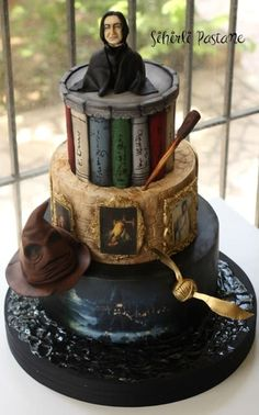 Snape (Harry Potter) Cake by Sihirli Pastane. (Sorry, but I probably wouldn't want Snape popping out of my cake. Rogue Harry Potter, Bolo Harry Potter, Gateau Harry Potter, Snape Harry Potter, Harry Potter Sorting Hat, Harry Potter Food, Harry Potter Cosplay, Harry Potter Desserts, Harry Potter Wedding Cakes