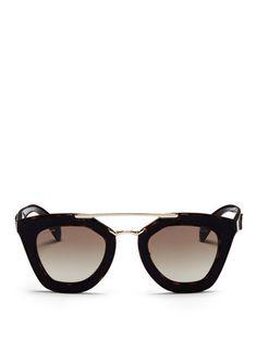 a4bfaa2723b5 Prada Inset Leather Rim Acetate Sunglasses Prada Sunglasses