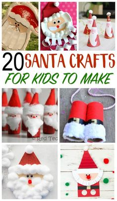 20 fun Santa Crafts for kids to make, and even play with! With all of 20 fun Santa Crafts for kids to make, and even play with! Santa Crafts For Kids To Make, Christmas Activities For Kids, Holiday Crafts For Kids, Preschool Christmas, Craft Activities, Kids Christmas, Handmade Christmas, Christmas Decor, Christmas Snacks