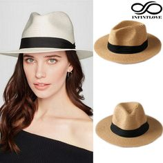INFINITLOVE Summer Fashion Men Women Straw Panama Fedora Sun Hats Beach Gangster Ribbon Band Wide Brim Cap One Size: 7 1/4