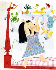 Illustration from I Can Fly, a Little Golden Book first published in 1951. Written by Ruth Krauss. Illustration by Mary Blair.