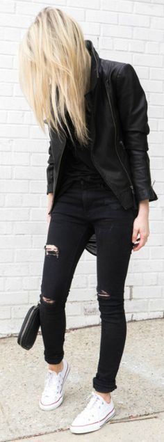 You can always wear your black skinny jeans and black leather jacket with a pair of white Converse. That works. Via Figtny Jacket: Aritzia, Skinny Jeans: Zara, Clutch: Alexander Wang, Sneakers: Converse
