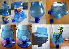 Vase fais a partir d une bouteille et un cd