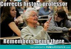Corrects the history professor