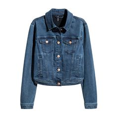 Short jacket in washed superstretch denim with a collar, buttons down the front, flap chest pockets with a button and side pockets. Tabs and buttons at the Korean Summer Outfits, Summer Outfits Women 20s, Summer Outfit For Teen Girls, Outfits For Teens, Fall Outfits, H&m Denim Jacket, Denim Jeans, Blue Jean Jacket, Jacket Buttons