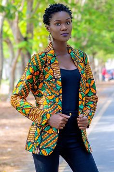 Size Large Only, Africa Women Blazer in Boyfriend Style, Ankara Prints Loose Fitting Coat, Afrocentric Clothing African Print Dresses, African Print Fashion, African Fashion Dresses, African Dress, African Prints, African Attire, African Wear, African Women, Blazers For Women