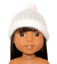 This knitted beanie with pom pom comes in plain white or white with a pink stripe and is suitable for smaller dolls with a head circumference up to Girl Doll Clothes, Girl Dolls, American Girl Wellie Wishers, Wellie Wishers Dolls, Pink Stripes, Knit Beanie, Knitting Patterns, Crochet Hats, Disney