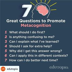 Great question prompts to spark metacognition! Thanks for sharing . Aphasia, Executive Functioning, High School English, Gifted Education, Self Regulation, Thanks For Sharing, Growth Mindset, Psych, Prompts