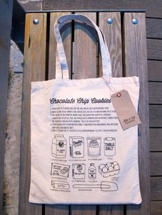 Items similar to Chocolate Chip Cookie Illustrated Recipe Canvas Tote Bag on Etsy Illustrated Recipe, Food Illustrations, Diy Projects To Try, Handmade Bags, Canvas Tote Bags, Chocolate Chip Cookies, Mother Day Gifts, Shopping Bag, Pouch