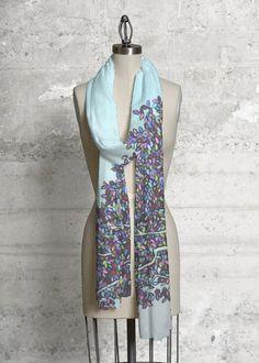 Anne Marie Oliver And Still I Rise Modal Scarf 40.00 USD_________________ #shopvida #vidavoices #vida #scarf #scarves #tops #fashion #womensfashion #originalart #trendy #florals #abstract #landscape #green #purple #andstillirise #trees #textiles #designers #apparel #annemarieoliver